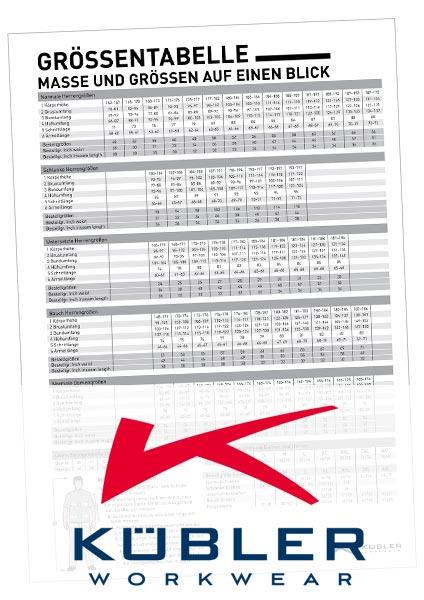 Größentabelle KÜBLER als PDF